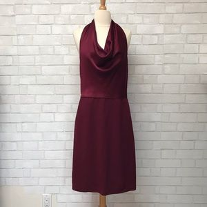 Burgundy Halter Draped Neck Dress